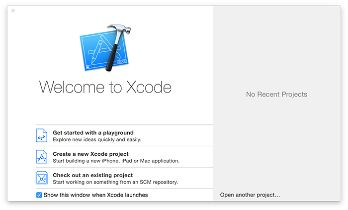 When you launch Xcode you'll be asked what kind of project you want to make. Please choose Get Started with a Playground.