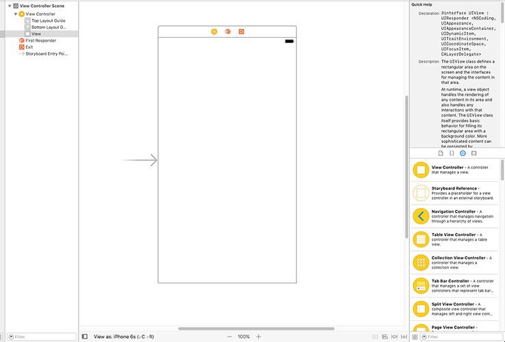 The Single View App template gives you one large, empty canvas to draw on.