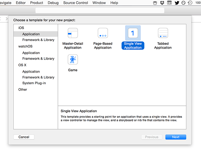 Creating a new Single View App project in Xcode.