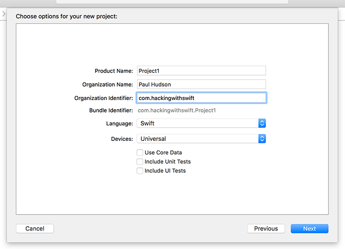 Setting your Organization Identifier in Xcode.