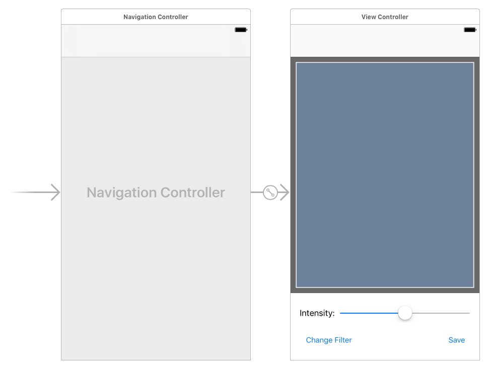 Your finished layout should have an image view taking up most of the space, with a slider and two buttons beneath it.