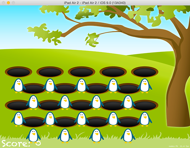 Our penguins are positioned just below their holes, and they'll become invisible once added to a crop node.