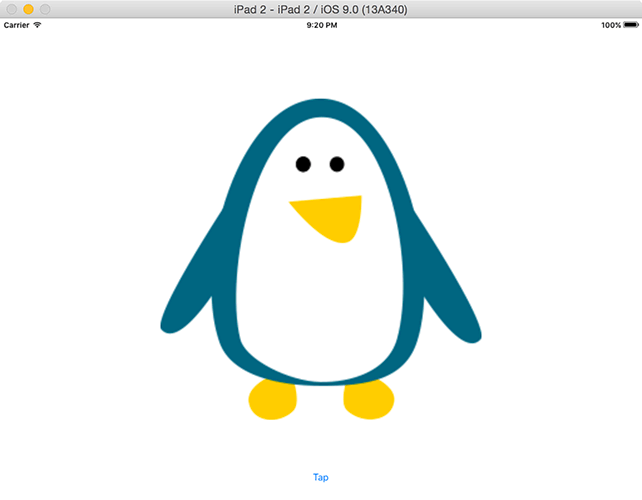 When iOS draws the penguin at twice its size, it automatically smooths the image so it doesn't look too jaggy.