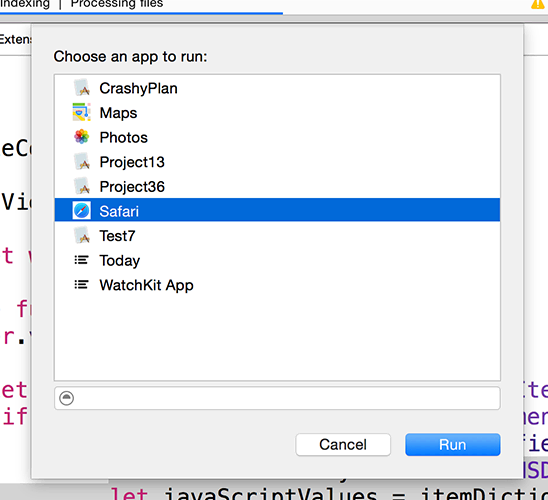 Xcode will ask you which app you should run with your extension. Please choose Safari.