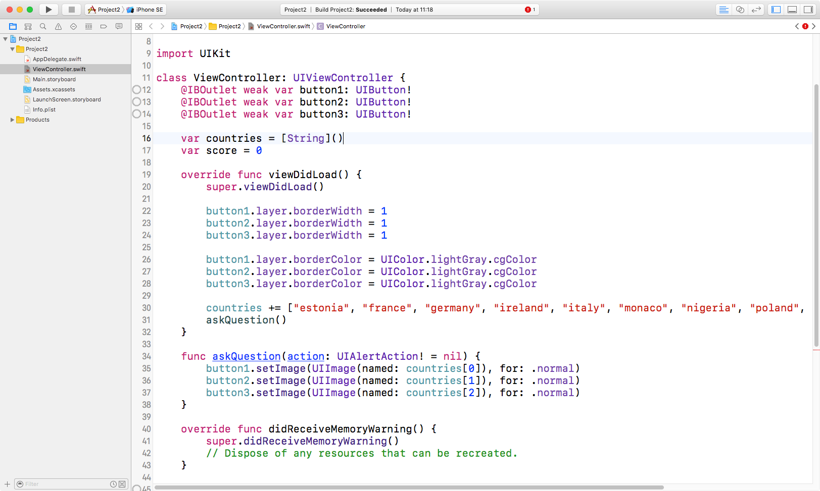 This is how your code should look at this point.