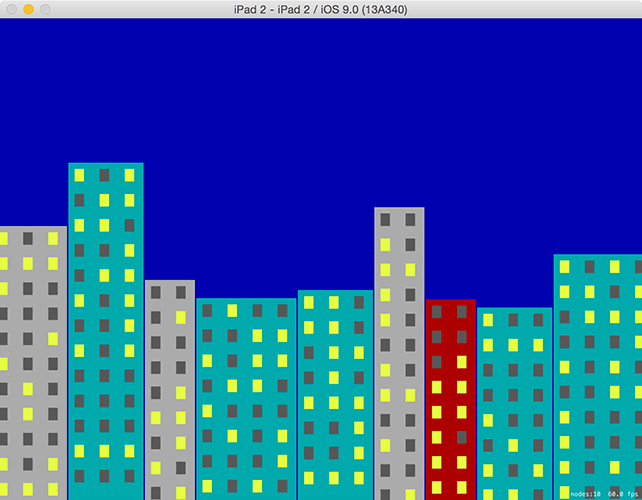 Because we draw the buildings in code, our game level is different every time it runs.