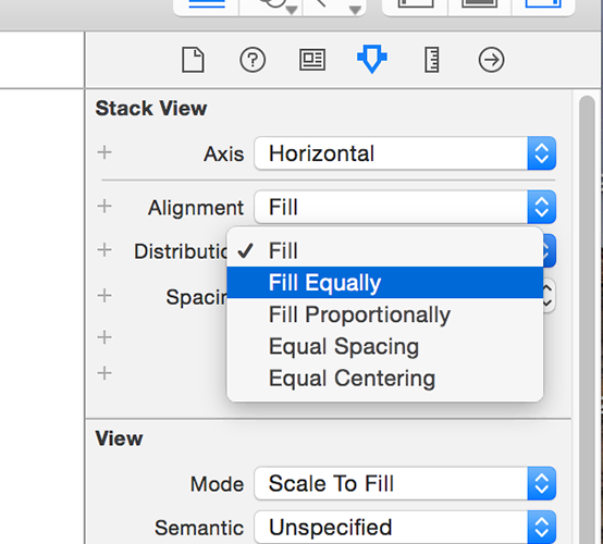 Change your stack view's distribution setting to be Equal to have its subviews take up an equal amount of space.