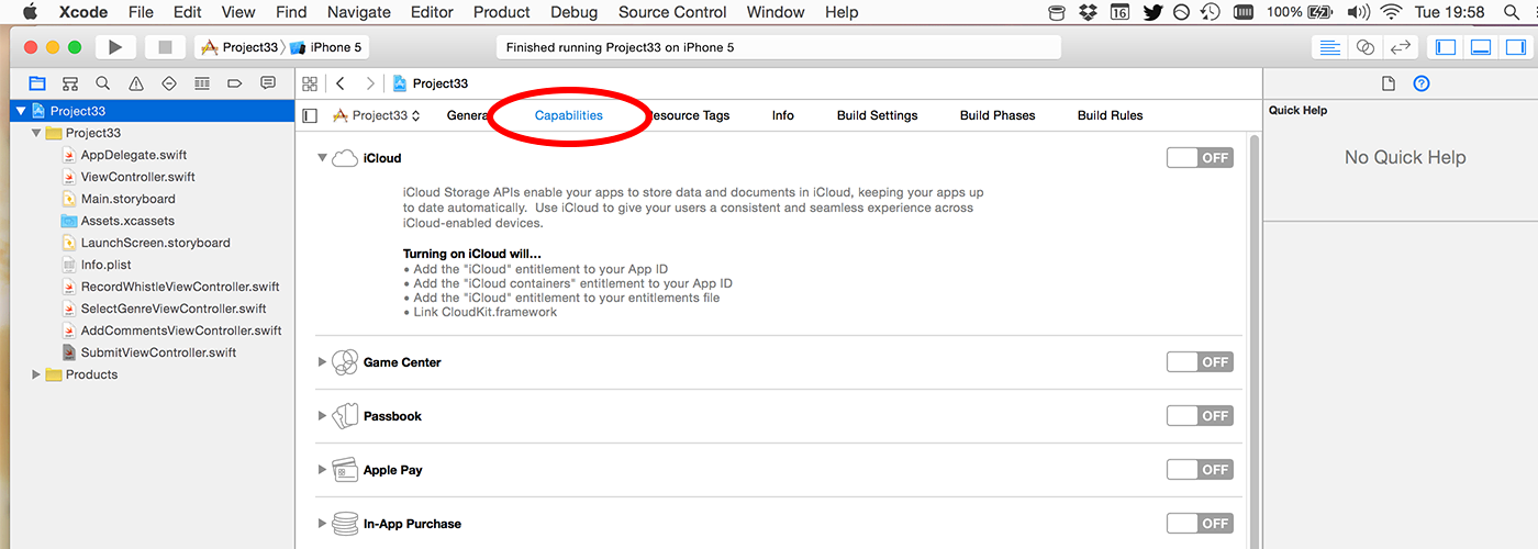 By default the iCloud entitlement is turned off for your project.