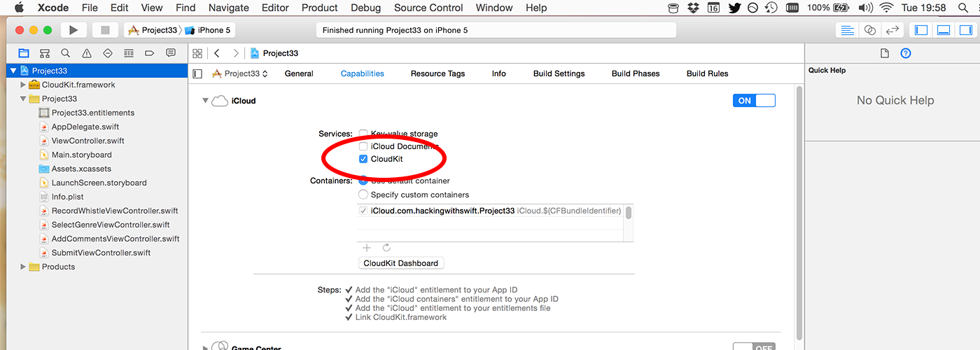 Make sure you select the checkbox marked CloudKit inside the iCloud entitlement.