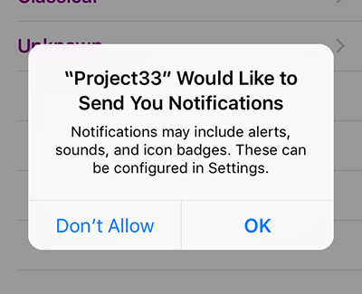 When you request permission to show notifications (local or remote) Apple will display a screen like this one.