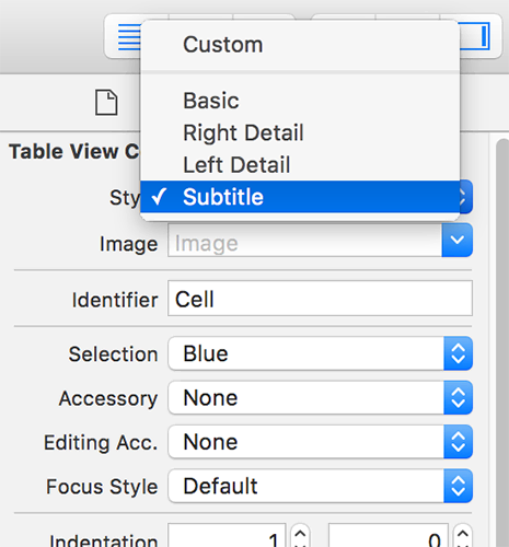 Change the table view cell style to be Subtitle.