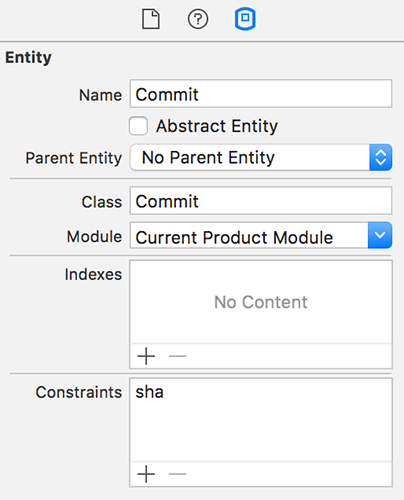 Just adding the word 'sha' to the list of constraints is enough to tell Core Data we need it to be unique.