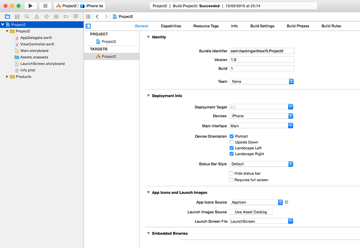 Use the project editor to set the device orientations you want to support.