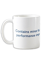 A white mug with writing on.