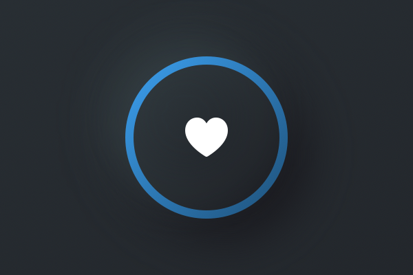 A dark button that has a blue ring around its edge.